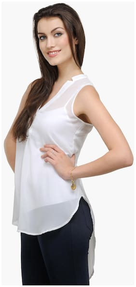 Besiva White Polyester Top