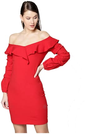 BESIVA Red Solid Bodycon dress