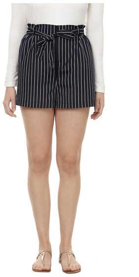 Besiva women's blue stripe shorts with tie-up detail at front