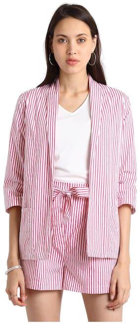 BESIVA Women Striped Regular fit Blazer - White