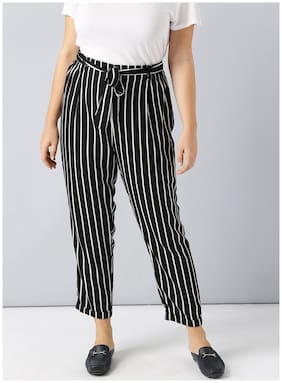 Besiva women's black high waisted striped trouser