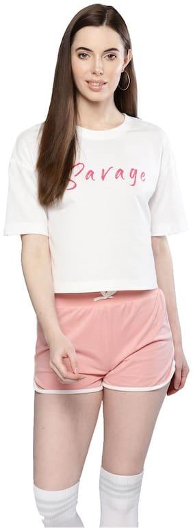 Besiva Women Cotton Casual Tshirts & Tank Tops White