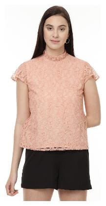 Besiva women's lace top with short sleeve and collar