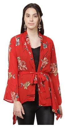 Besiva women's multicolor printed long sleeve top with lapel collar and belt at waist