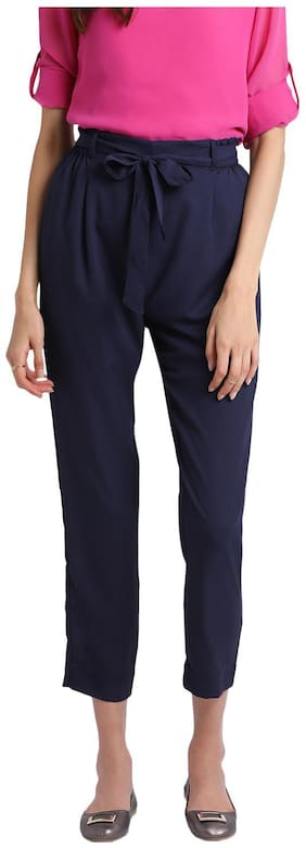 BESIVA Women Regular fit Mid rise Solid Regular pants - Blue