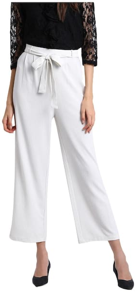 BESIVA Women Regular fit Mid rise Solid Regular pants - White
