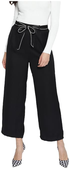 BESIVA Women Regular fit Solid Regular trousers - Black