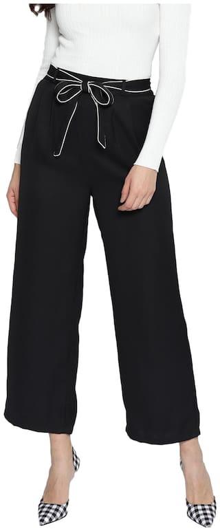 Besiva Women Black Belted Trouser