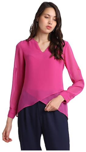 Besiva women's pink long sleeve V-Neck top