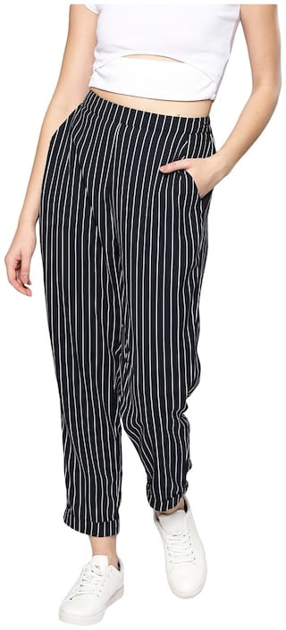BESIVA Women Regular fit Mid rise Striped Regular trousers - Blue