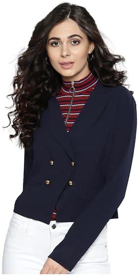 BESIVA Women Solid Regular Fit Blazer - Navy