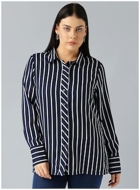 Besiva women's navy stripe full sleeve button-down shirt
