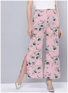 BESIVA Women Regular Fit Mid Rise Floral Pants - Pink