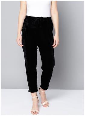 BESIVA Women Regular Fit High Rise Solid Pants - Black