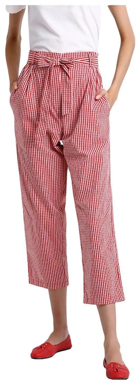 BESIVA Women Regular Fit Mid Rise Checked Pants - Red