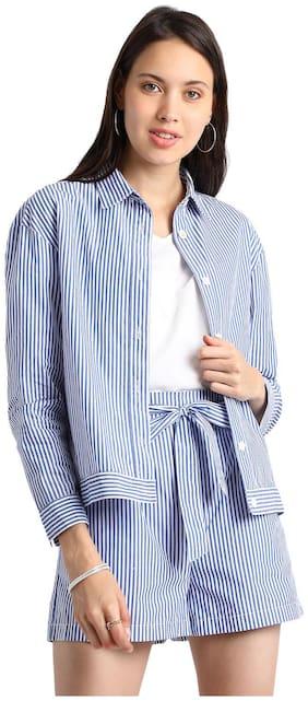 BESIVA Women Striped Regular fit Blazer - Blue