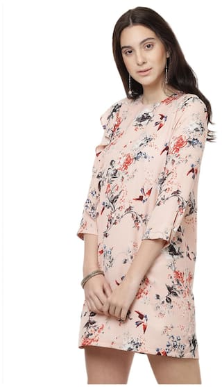 at with peach and Besiva flare printed women's embellishment detail front dress pearl 6p0Hq4T