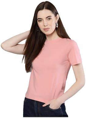 Besiva Women Cotton Casual Tshirts & Tank Tops Peach