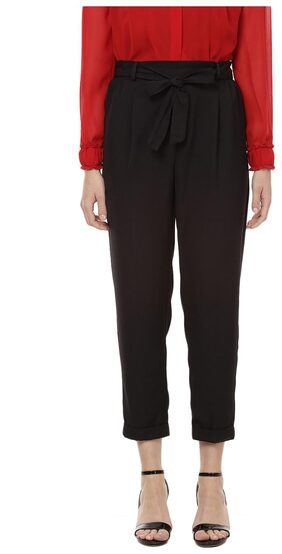 Besiva women's solid black Trouser with tie-up detail at front