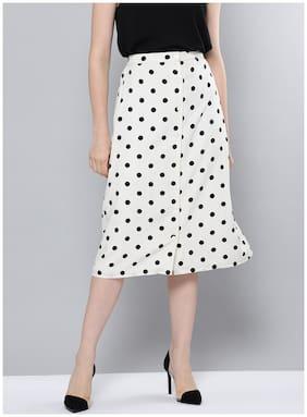 BESIVA Printed Wrap skirt Midi Skirt - White