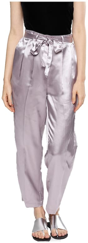 BESIVA Women Polyester Regular Trousers Purple color