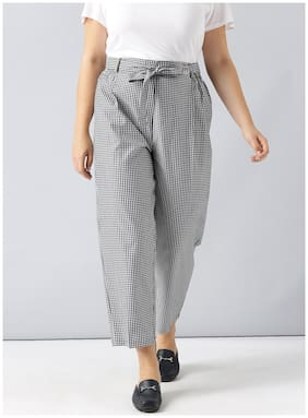 Besiva women's black gingham high waisted Belted trouser