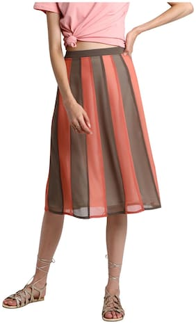 BESIVA Solid Straight skirt Midi Skirt - Multi