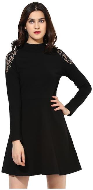 Besiva Women's Cotton Black Lace Dress