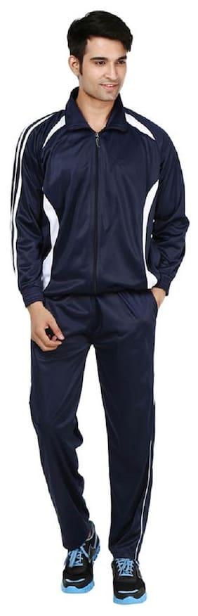 Best Deal Men Navy Blue Solid Regular Fit Track Suit