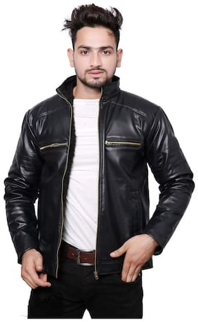 Best Friends Forever Men Pu blend Regular fit Jacket - Black