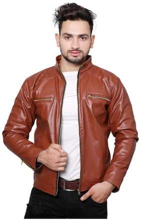 Best Friends Forever Men Pu blend Regular fit Jacket - Brown