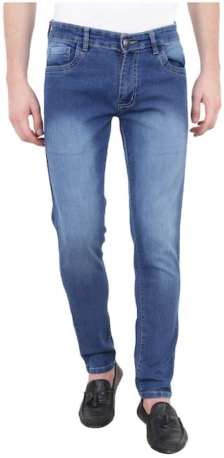 BESTLOO Men's Wash Dark Blue Jeans