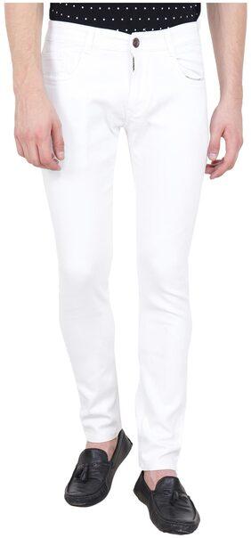 BESTLOO Mens White Round Pocket Jeans
