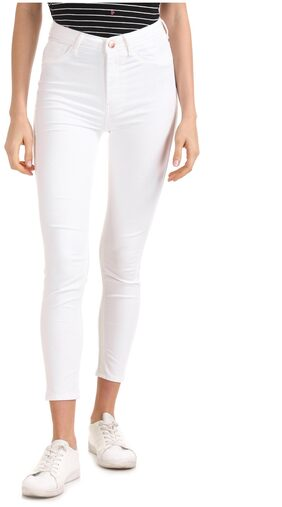 Flying Machine Women Skinny Fit High Rise Solid Jegging - White
