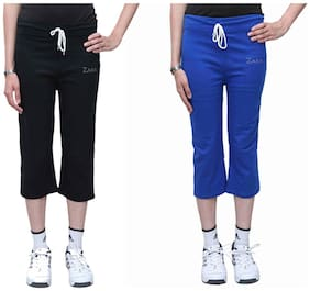 BFLY Black And Blue Pack Of 2 Cotton Capri