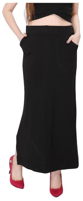 Bfly Black Cotton Hosiery Straight Skirt With Pocket +Freebie