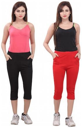 Bfly Combo of Black & Red Women's Capri