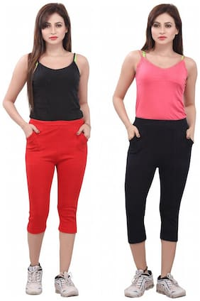 Bfly Combo of Red & Navy Women's Capri