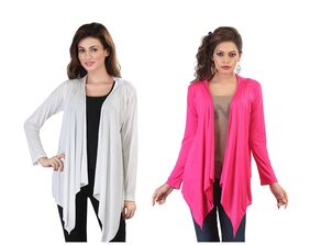 Bfly Pack Of 2 Pink And White Viscose Shrug