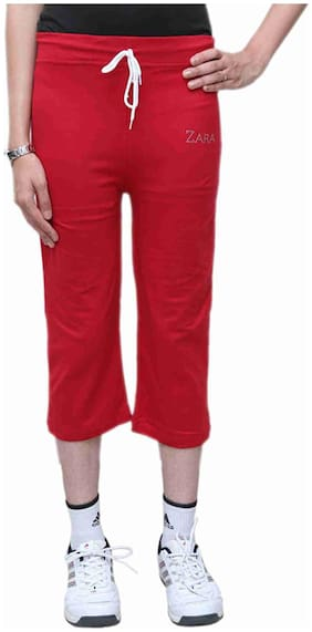 BFLY Red Cotton Capri