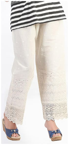 Bfly Off-White Cotton Palazzos