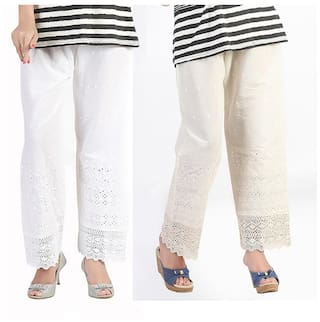 Bfly Combo of White & Off-White Cotton Palazzo