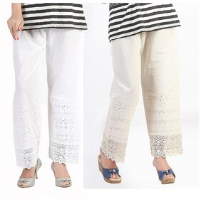 Bfly White Cotton Pack Of 2 Palazzos
