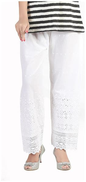 Bfly White Cotton Palazzos