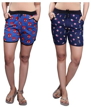 Bfly Women's Printed Cotton Hosiery Shorts-Pack of 2