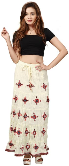 Bfly Women's Cotton Long Skirt(White)