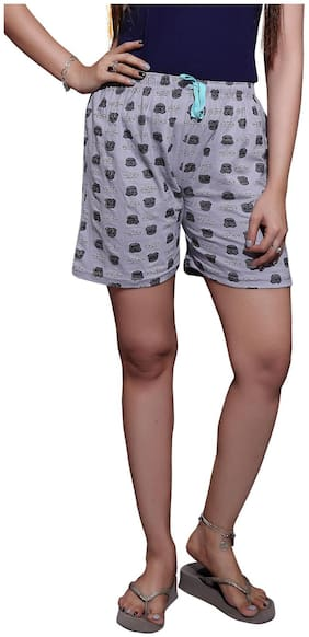 Bfly Women Printed Sport shorts - Grey