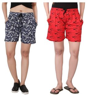 Bfly Women Printed Shorts - Red