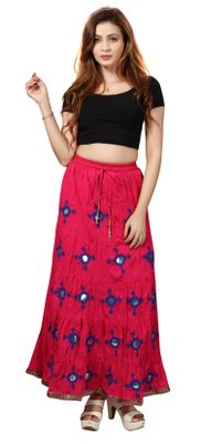Bfly Women's Cotton Long Skirt(Pink)