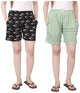 Bfly Women Solid Sport shorts - Green
